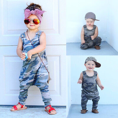 Newborn Baby Boy Girl Sleeveless Vest Camouflage Playsuit Romper Outfits Clothes