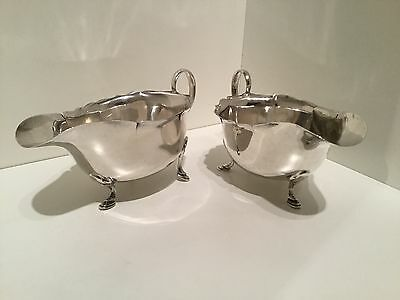 Pair Solid Silver Sauce Boats by Mappin & Webb Sheffield 1935 / 1936