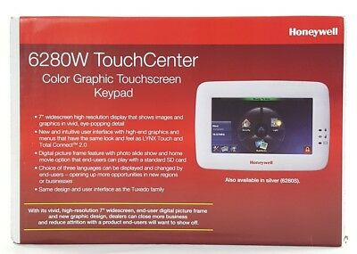 Honeywell 6280W TouchCenter Color Graphic Touchscreen Keypad (White) (Used)