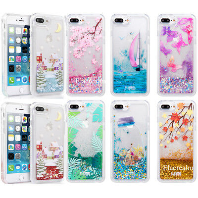 Dynamic Liquid Glitter Quicksand Clear Back Case Cover For iPhone 6 6s 7 8 Plus