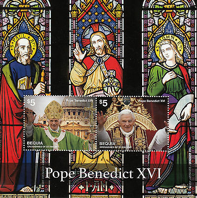 Bequia Gren St Vincent 2014 MNH Pope Benedict XVI 2v S/S II Stained Glass Stamps