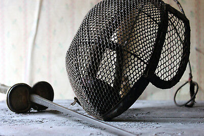 Antique Evocative Late 19thC Fencing Foil Epee Sword & Mask c.1890-1900