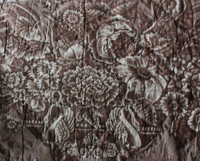 Antique American Chintz Valance Copper Plate Birds & Floral Toile Fabric c1820