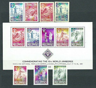 Philippines - Mail 1959 Yvert 477/78+A.55/7+HB Mh Scoutismo