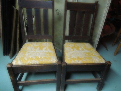 Pr. of Antique, American, Mission Chairs, Oak, 1900