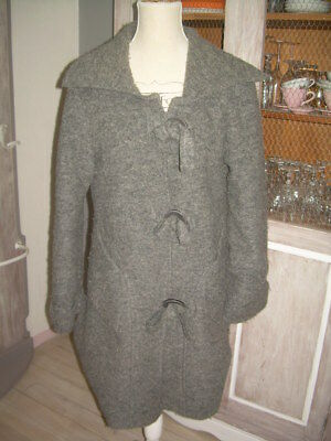manteau Made in Italy boho chic laine bouillie 90% taille 44 gros boutons
