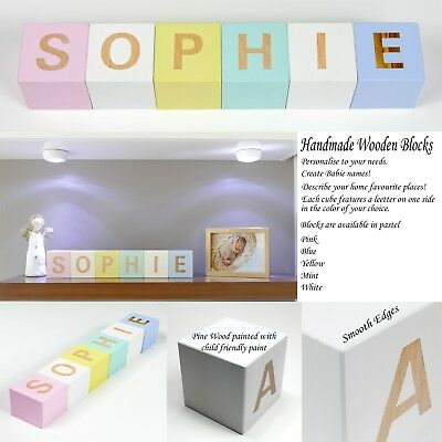 Personalised Wooden Baby Name Letter Blocks Large 7 x 7 cm - Pastel Colors