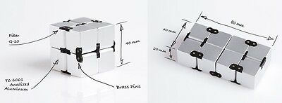 Luxury EDC Infinity Cube 100% Aerospace Aluminum Office Toy Stress Relief Silver