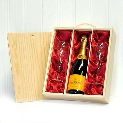 750ml Veuve Clicquot Champagne with 2 x Branded Flutes in a Wooden...
