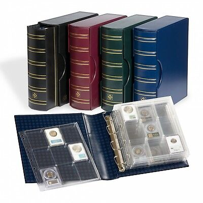 New 4 Rings Binder Album + Slipcase + 6 Certified Coin Slabs Pages ENCAP Red Clr
