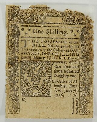 1776 One Shilling Connecticut Colonial Currency (Backed with Archival Tape)