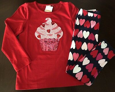 NWT Gymboree Girl Cozy Valentine Cupcake Tee & Heart Leggings Outfit 5 6 7 8 10