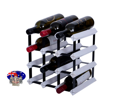 12 Bottle Timber Wine Rack -  WHITE - Your Complete Home Wine Storage