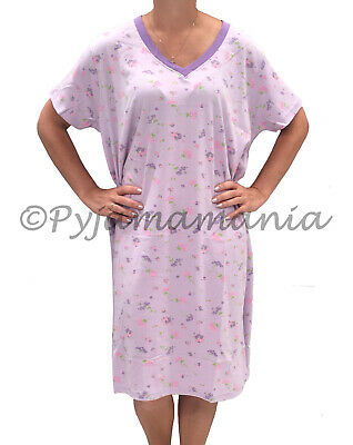 Pyjamas Ladies Plus Size Short Sleeve V-neck Floral Nightie Lilac Sz 22
