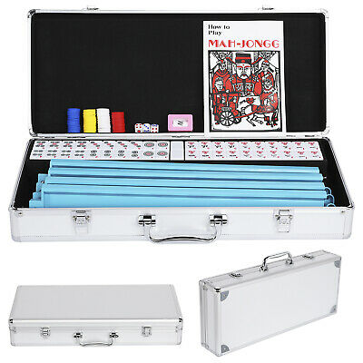 American Mahjong Set 166 Tiles Pushers/Racks Mah Jongg Set Aluminum Case, Silver