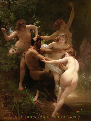 "Nymphs Surrounding Satyr 8.5x11"" Photo Print William Bouguereau Fine Art Nude"
