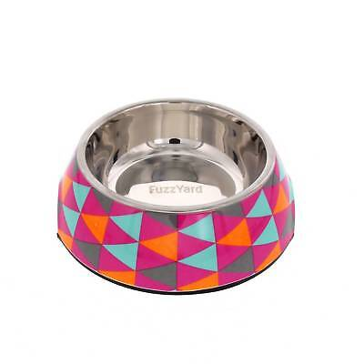 Fuzzyard Dog Bowl Crush Multi Colour Triangles Small With Rubber Base Melamine