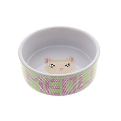 Cat Bowl Kitty Krosstitch Meow Dishwasher & Microwave Safe Kitten Feed Food