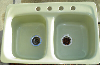 Vintage American Standard Green Double Sink Top Mount 4 Hole Cast Iron 1970s