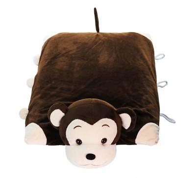Pillow Pet - Monkey 100% Natural Latex with Case – Foldable Toy for Kids...