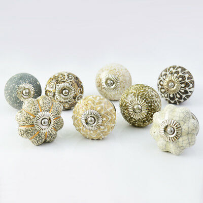 Pastel Country Set of 25 Sparked Yellow Ceramic Cabinet Drawer Knobs Pulls