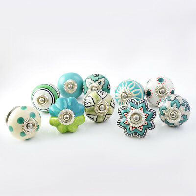 Pastel Country Set of 25 Handpainted Colorful Ceramic Cabinet Drawer Knobs Pulls