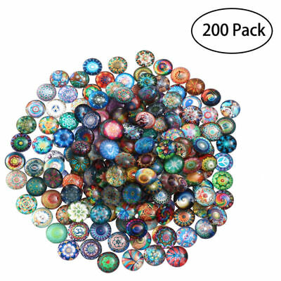200x Mixed Color Glass Round Mosaic Tiles for Home Bathroom Decoration 12mm