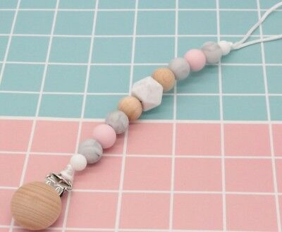 Baby Dummy Chains, Silicone and Beech Wood Infant Pacifier Clips, Soother Clip