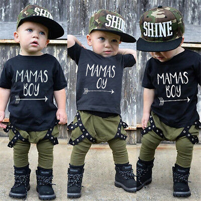 2PCS Toddler Kids Baby Boys Cotton T-shirt Tops Harem Pants Outfits Set Clothes