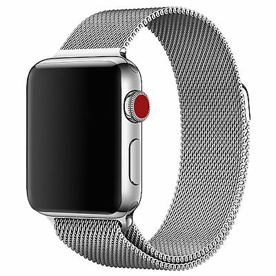 Walcase for Apple Watch Band, Fully Magnetic Closure Clasp Silver Milanese 42mm