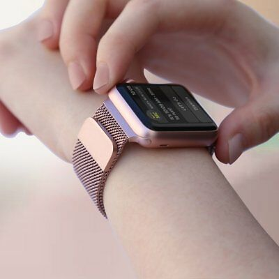 Walcase-for-Apple-Watch-Band-Fully-Magnetic-Closure-Clasp-RoseGold-Milanese-42mm