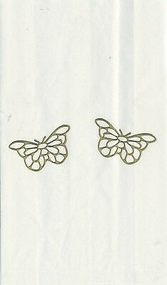 Set Of 12 Gold Filigree Butterfly 14 X 8 Size White Cake Bags