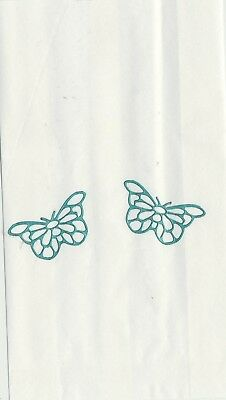 Set Of 12 Green Filigree Butterfly 14 X 8 Size White Cake Bags