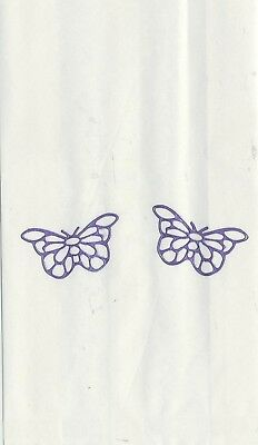 Set Of 12 Purple Filigree Butterfly 14 X 8 Size White Cake Bags