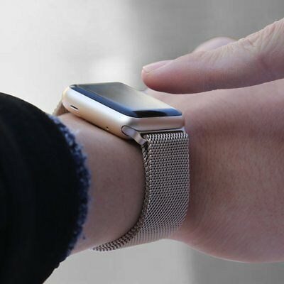 Walcase-for-Apple-Watch-Band-Fully-Magnetic-Closure-Clasp-Gold-Milanese- 42mm