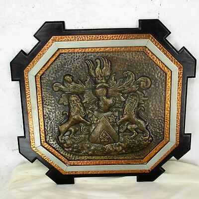 Copper Brass Wood Ornate  Gothic Shield Wall Decor  Family Crest Heraldic HTF