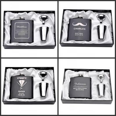 Personalized Engraved  6oz Hip Flask Set Stainless Steel Funnel Gift Box 2 Cups