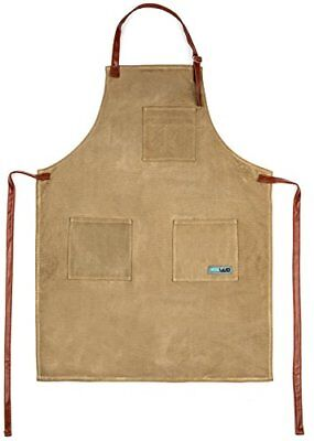 Utility Waxed Canvas Apron Durable with PU Leather Strap and Reinforced Tan Work
