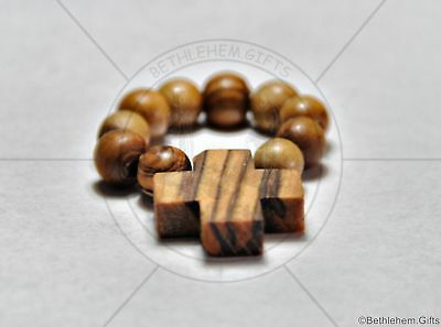 OLIVE WOOD FINGER ONE DECADE Mini Rosary Religious Wooden cross HOLY LAND