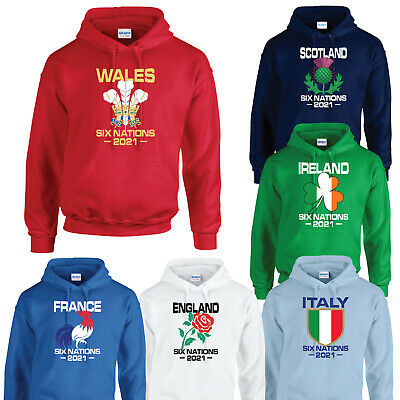 Six Nations 2018 Hoodie Rugby Hoody England Wales Scotland Ireland Italy France