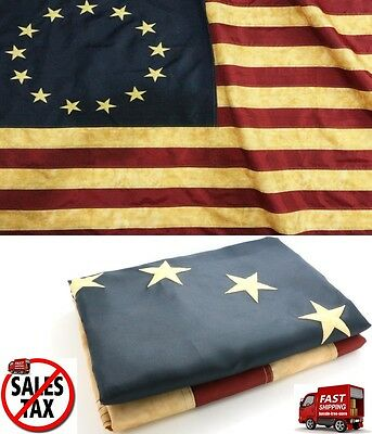 Vintage 3 x 5 Foot Betsy Ross Antique 13 Stars American Aged Flag