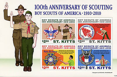 St Kitts 2010 MNH Scouting 100th Anniv Boy Scouts America 4v M/S II Stamps
