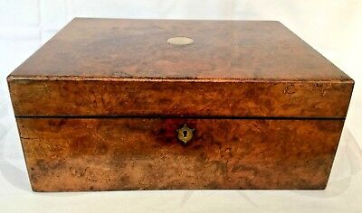 Parkins & Gotto Burr Walnut mid-Victorian Sewing Box