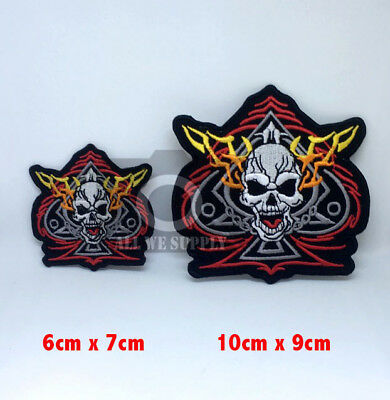 #1345 Ace of Spades Skull Biker Fire Iron/Sew on Embroidered Patch
