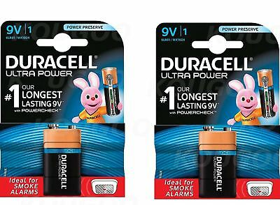2 x Duracell 9V PP3 Batteries Ultra Power Alkaline Smoke Alarm LR22 BLOC MN1604