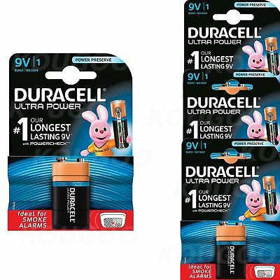 4 x Duracell 9V PP3 Batteries Ultra Power Alkaline Smoke Alarm LR22 BLOC MN1604