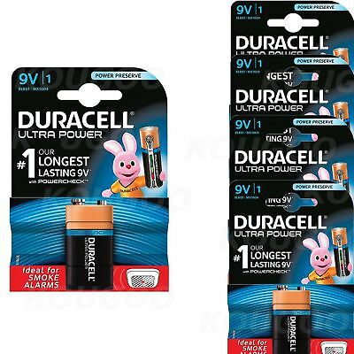 5 x Duracell 9V PP3 Batteries Ultra Power Alkaline Smoke Alarm LR22 BLOC MN1604