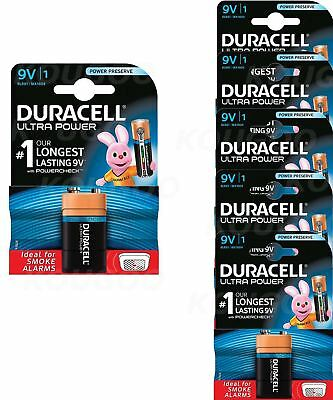 6 x Duracell 9V PP3 Batteries Ultra Power Alkaline Smoke Alarm LR22 BLOC MN1604