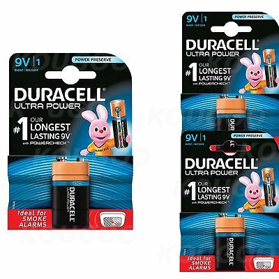 3 x Duracell 9V PP3 Batteries Ultra Power Alkaline Smoke Alarm LR22 BLOC MN1604