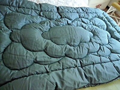 A Vintage Single Feather Duvet/eiderdown In Teal Green - Lovely Condition